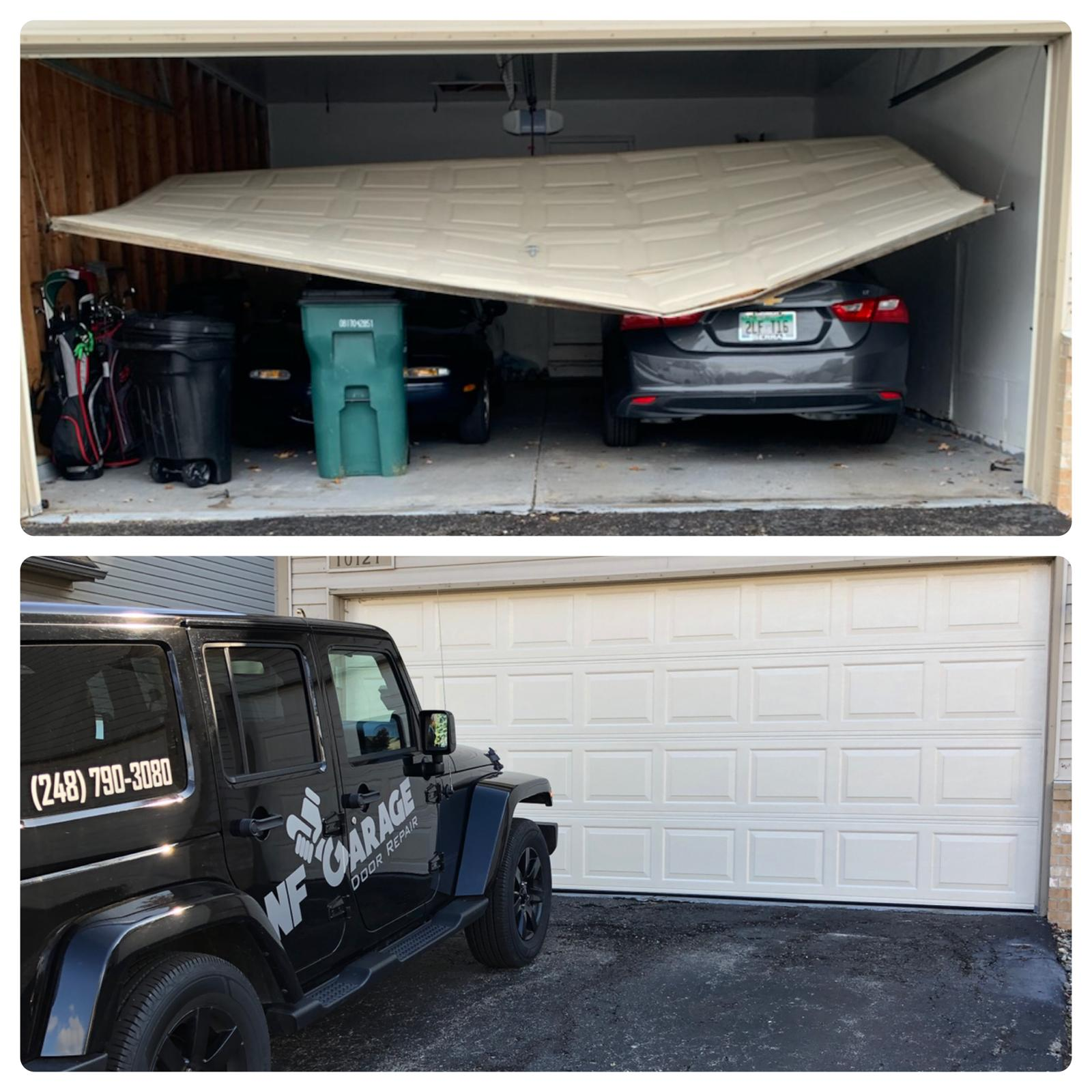 From disaster to brand new garage door!